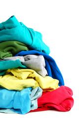 Pile of clothes washing on white background.