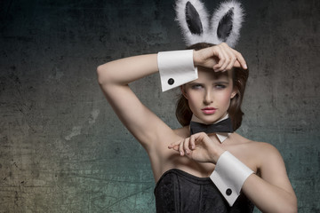 sexy pinup with bunny ears