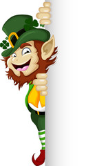 Happy Leprechaun with blank sign for you design