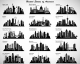 Photo: USA cities skylines set. Vector silhouettes