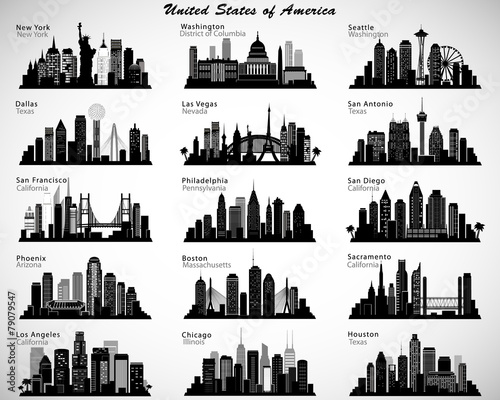 USA cities skylines set. Vector silhouettes - 79079547
