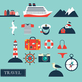 Tourism concept image sea vacation flat vector icons sea cruise - 79079748