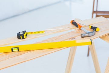 Construction tools on workbench