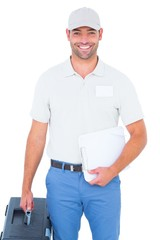 Confident male technician with toolbox and clipboard