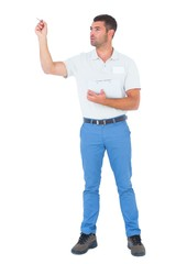 Male supervisor with clipboard inspecting on white background
