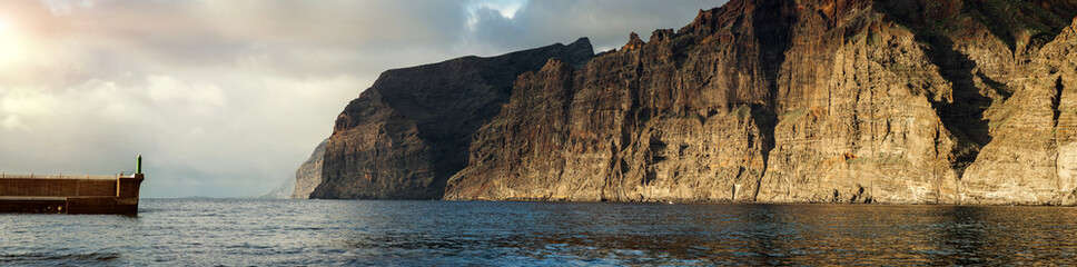 Cliffs of Los Gigantes at sunset. Tenerife, Spain