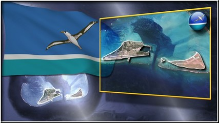 Midway Islands flag and map animation
