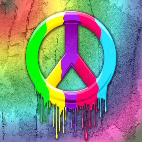 Fototapety, obrazy : Peace Symbol Dripping Rainbow Paint
