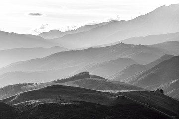 Hills of Canterbury near Hanmer Springs in black and white, New