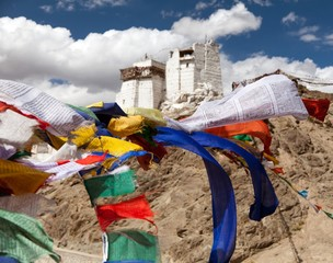 Namgyal Tsemo Gompa with prayer flags