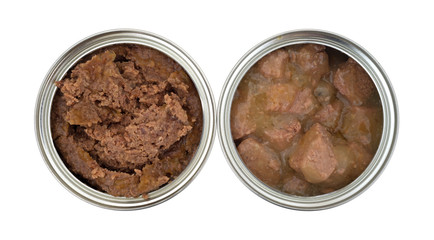 Two cans of opened dog food on a white background