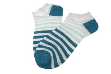 Pair Blue and White Striped Ladies Socks