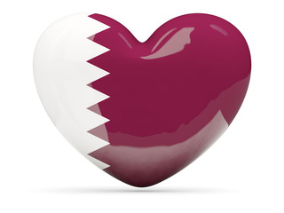 Heart shaped icon with flag of qatar