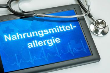 Tablet mit dem Text Nahrungsmittelallergie auf dem Display