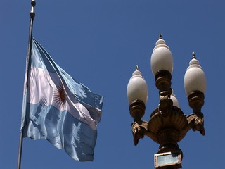 Flying Argentinian Flag in Buenos Aires, Argentina