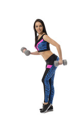 Gray-eyed brunette warms up with dumbbells