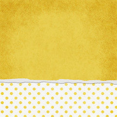 Square Yellow and White Polka Dot Torn Grunge Textured Backgroun