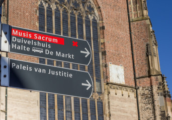 Tourist sign in front of the Eusebius church in Arnhem