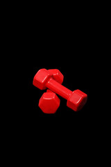 Two red dumbbells