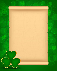 St Patrick's day background with parchment