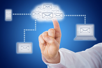 Finger Touching Email Cloud In Messaging Network