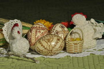 Easter. Symbols of Christmas. Rabbit, chicken and eggs.
