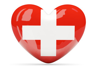 Heart shaped icon with flag of switzerland