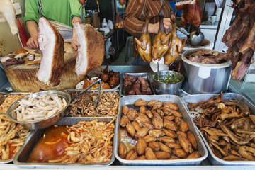 chinese meat food at butcher shop in macau street market china