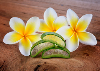 Aloe vera and frangipani flower on wooden