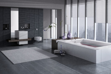 A 3D rendering of modern bathroom with single basin and jacuzzi