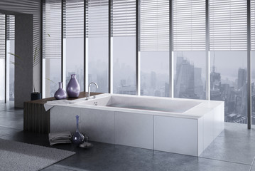 A 3D rendering of jacuzzi with floor to ceiling windows