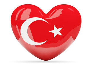 Heart shaped icon with flag of turkey