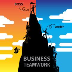 Boss or Leader Business Teamwork. Vector Illustration
