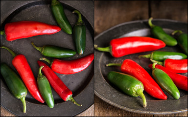 Compilation of red and green peppers images with moody vintage r