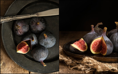 Compilation of images of Fresh figs in moody vintage retro style