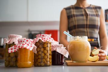 Closeup on jar with homemade apple jam