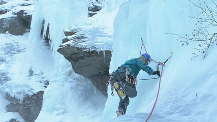 ice climber winter climbing