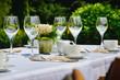 Leinwanddruck Bild - Restaurant im Garten