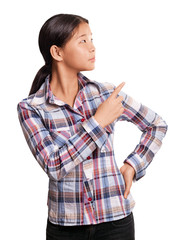 Asian Girl With Pointing Finger