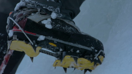 ice climbing crampons close up