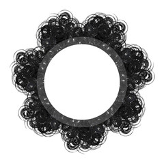 lacy black and white round gothic frame with text space