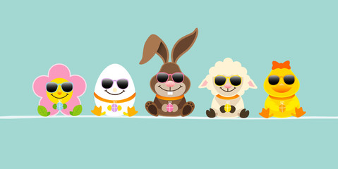 Easter Rabbit & Friends Sunglasses Retro DIN