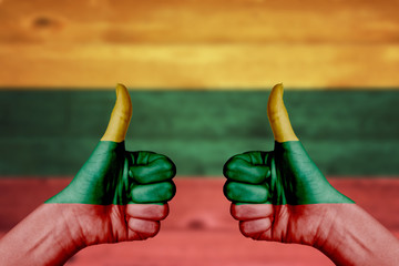 Lithuania flag painted on female hands thumbs up