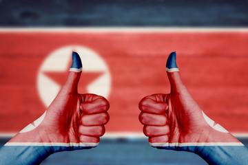 North Korea flag painted on female hands thumbs up