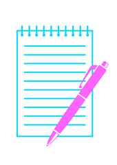 Ballpoint with notepad on white background