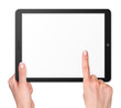 Modern computer tablet with hands - 79091755