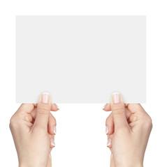 blank card in hands