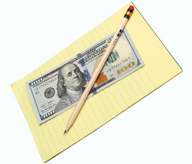 pencil and money