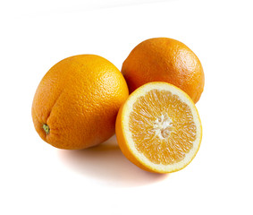 Fresh orange cut in half