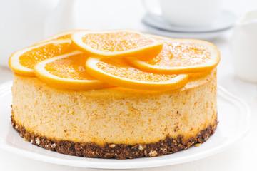 whole orange cheesecake, close-up